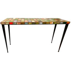 1990s Mosaic Glass Top Table with Iron Base
