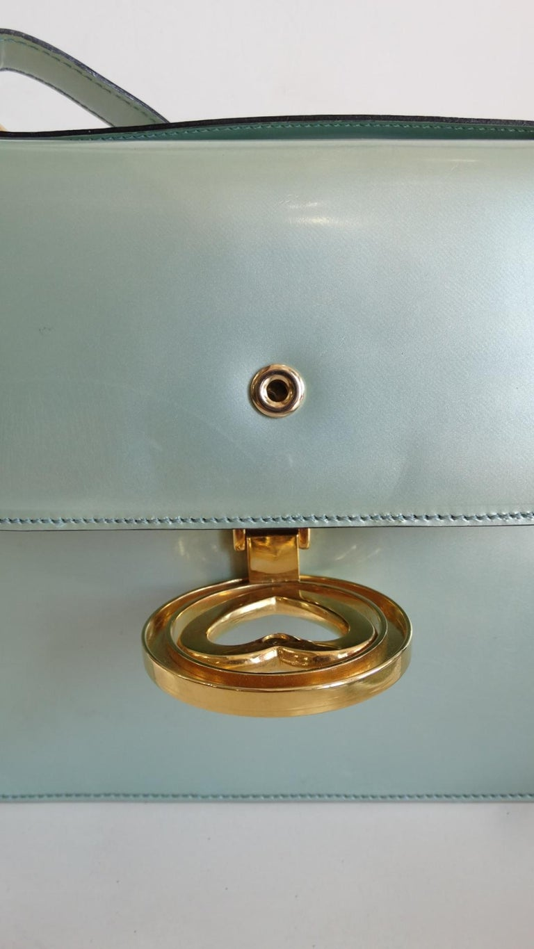 1990s Moschino Baby Blue Patent Leather Shoulder Bag  For Sale 7