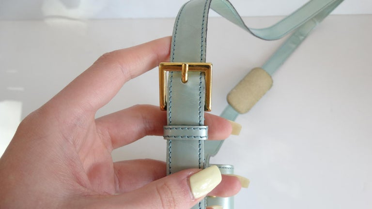 1990s Moschino Baby Blue Patent Leather Shoulder Bag  For Sale 8