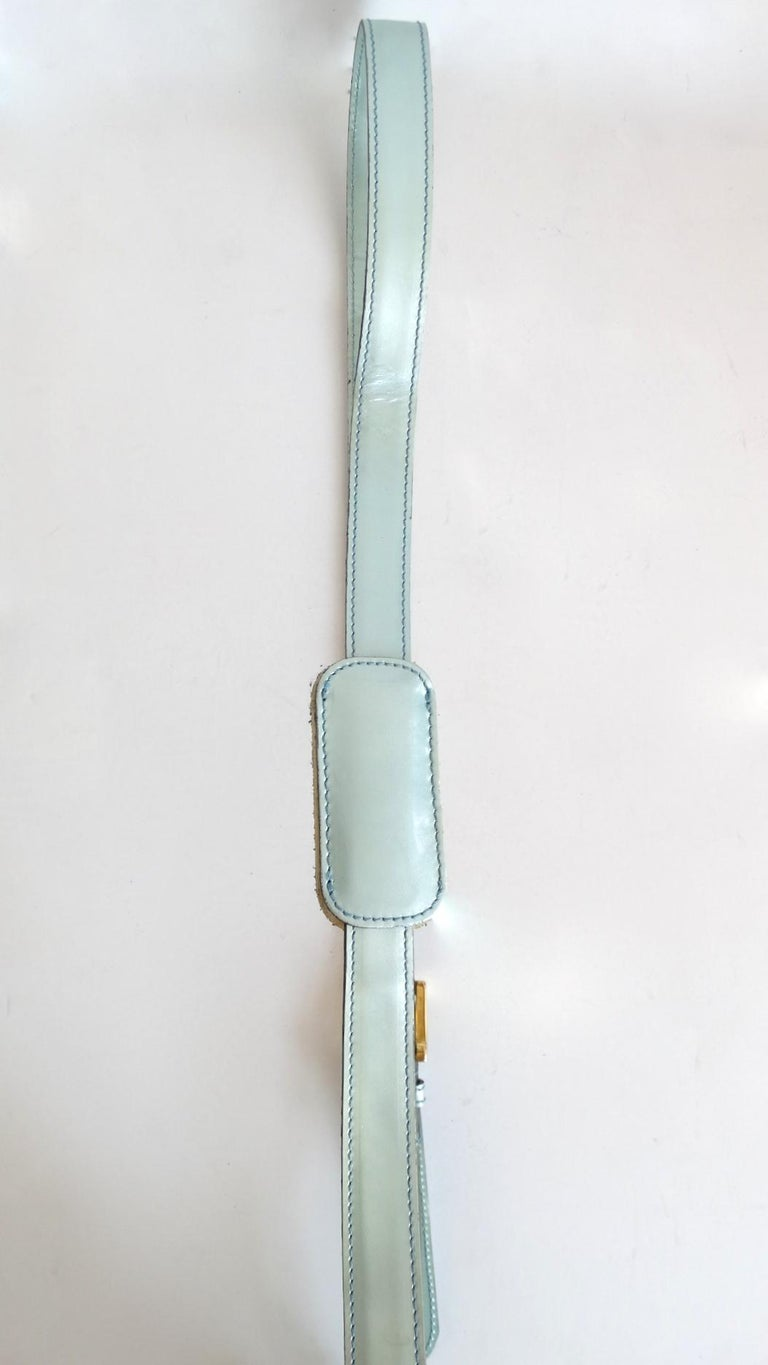 1990s Moschino Baby Blue Patent Leather Shoulder Bag  For Sale 10