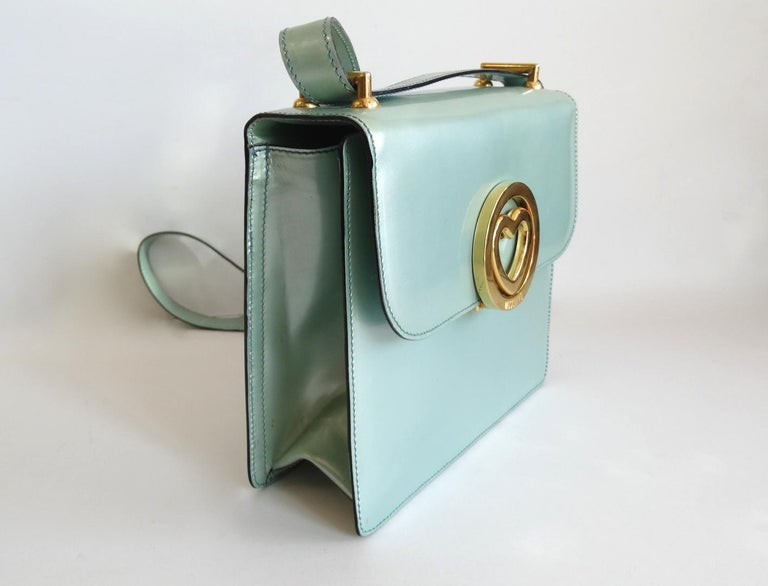 1990s Moschino Baby Blue Patent Leather Shoulder Bag  In Good Condition For Sale In Scottsdale, AZ