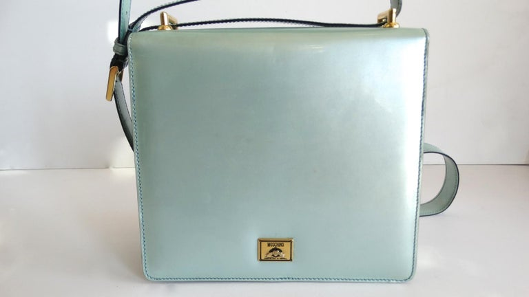 1990s Moschino Baby Blue Patent Leather Shoulder Bag  For Sale 2