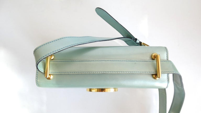 1990s Moschino Baby Blue Patent Leather Shoulder Bag  For Sale 3