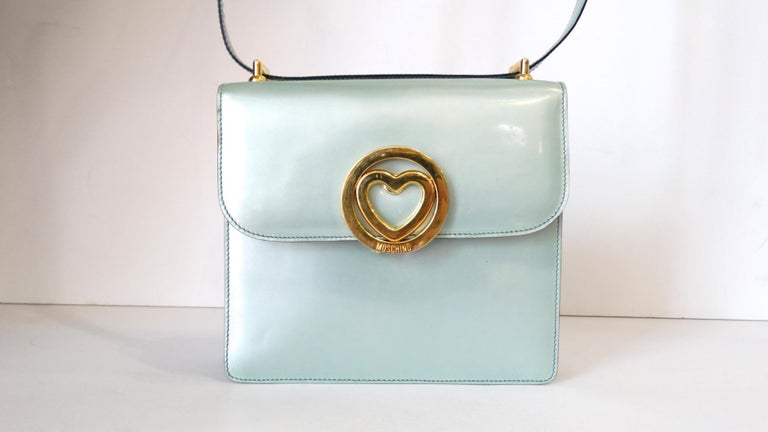 Gray 1990s Moschino Baby Blue Patent Leather Shoulder Bag  For Sale