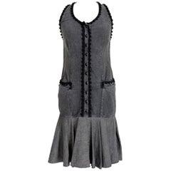 1990s Moschino Black Denim Cotton Jeans Short Summer Dress