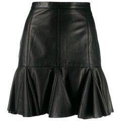 1990s Moschino Black Leather Skirt