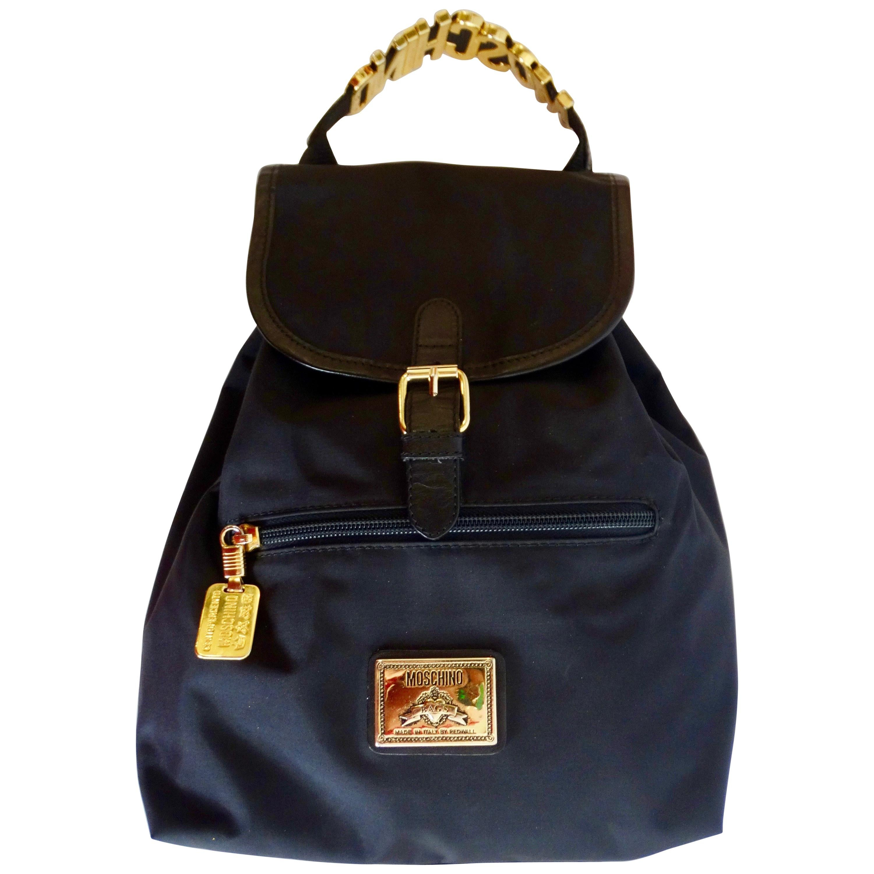 6a5f6cf4bd9e Moschino Black Suede Leather Backpack with Charms For Sale at 1stdibs