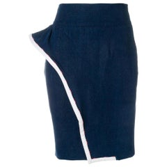 1990s Moschino Blue Pencil Skirt