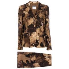1990s Moschino Brown Floral Pattern Suit