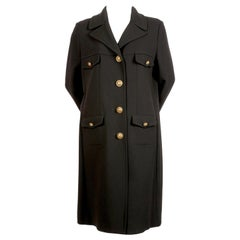 1990's MOSCHINO Cheap and Chic black wool military coat