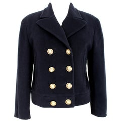 1990s Moschino Cheap And Chic Blue Wool Short Double Breasted Coat