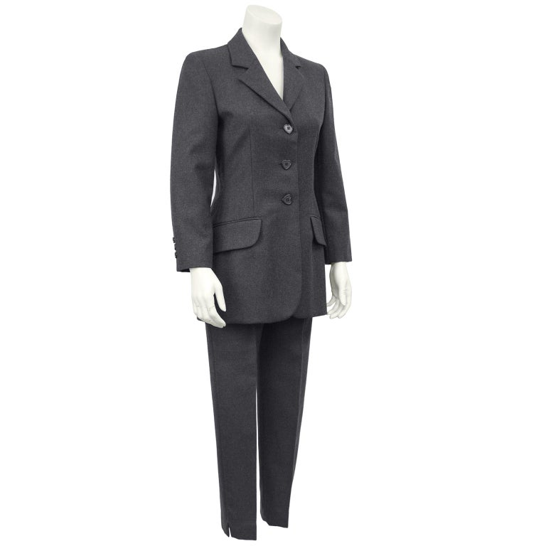 Black 1990s Moschino Cheap and Chic Grey Wool Suit with Embroidered Back For Sale