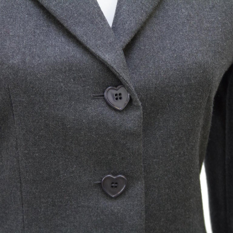 Women's 1990s Moschino Cheap and Chic Grey Wool Suit with Embroidered Back For Sale