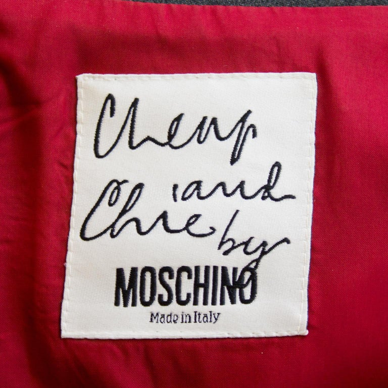 1990s Moschino Cheap and Chic Grey Wool Suit with Embroidered Back For Sale 1