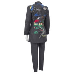 1990s Moschino Cheap and Chic Grey Wool Suit with Embroidered Back