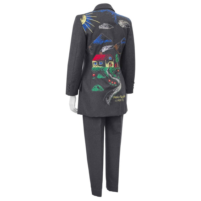 1990s Moschino Cheap and Chic Grey Wool Suit with Embroidered Back For Sale