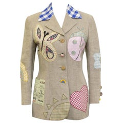 1990s Moschino Cheap and Chic Linen Patch Blazer