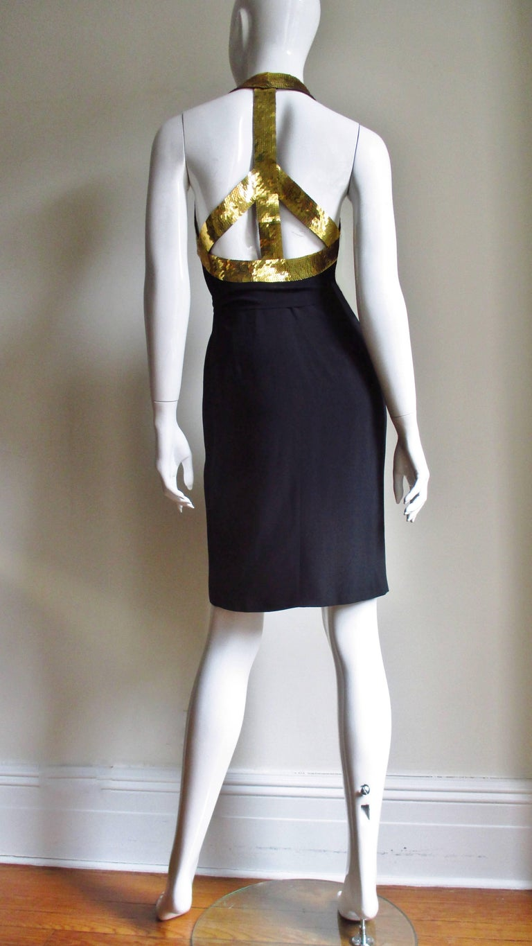 1990s Moschino Couture Gold Sequin Peace Sign Dress For Sale 10