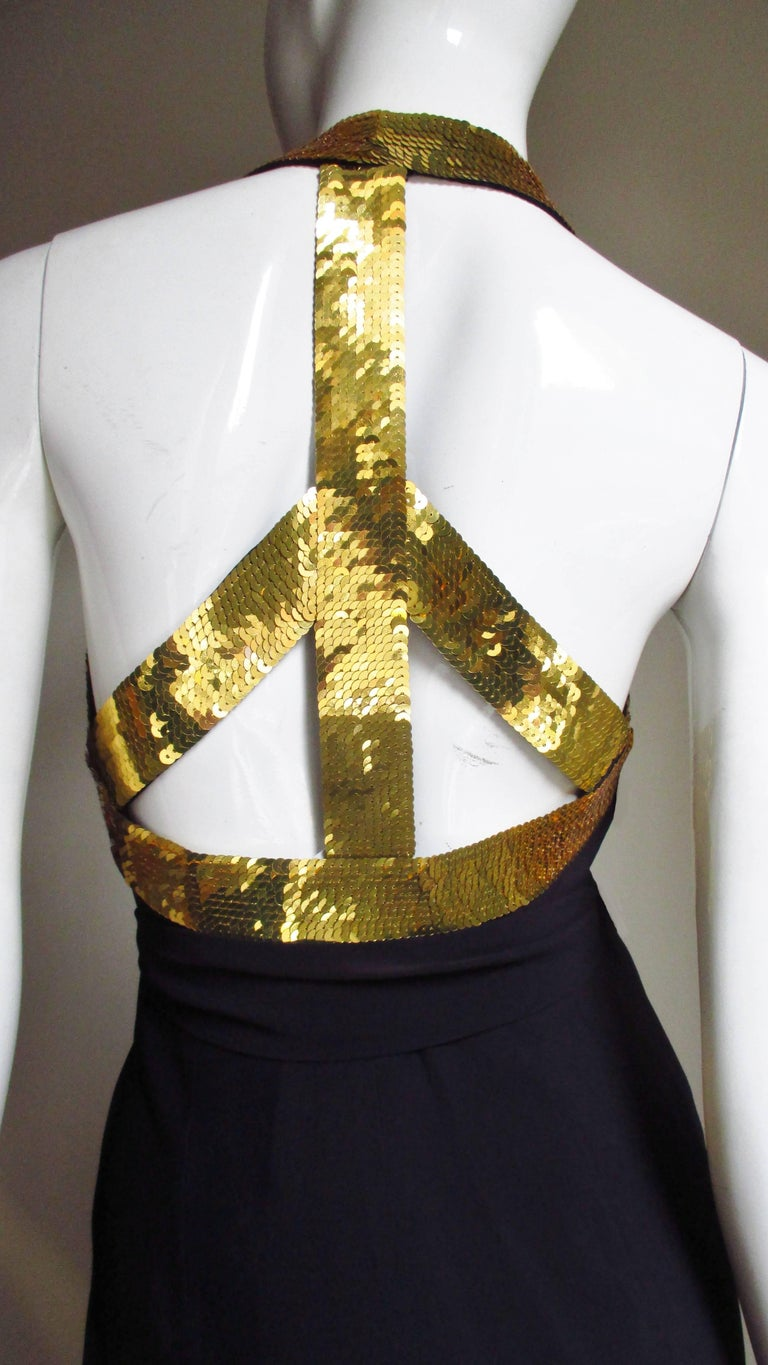 1990s Moschino Couture Gold Sequin Peace Sign Dress For Sale 8