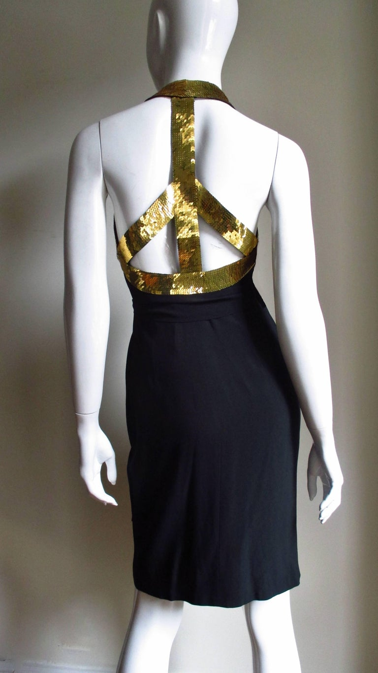Black 1990s Moschino Couture Gold Sequin Peace Sign Dress For Sale