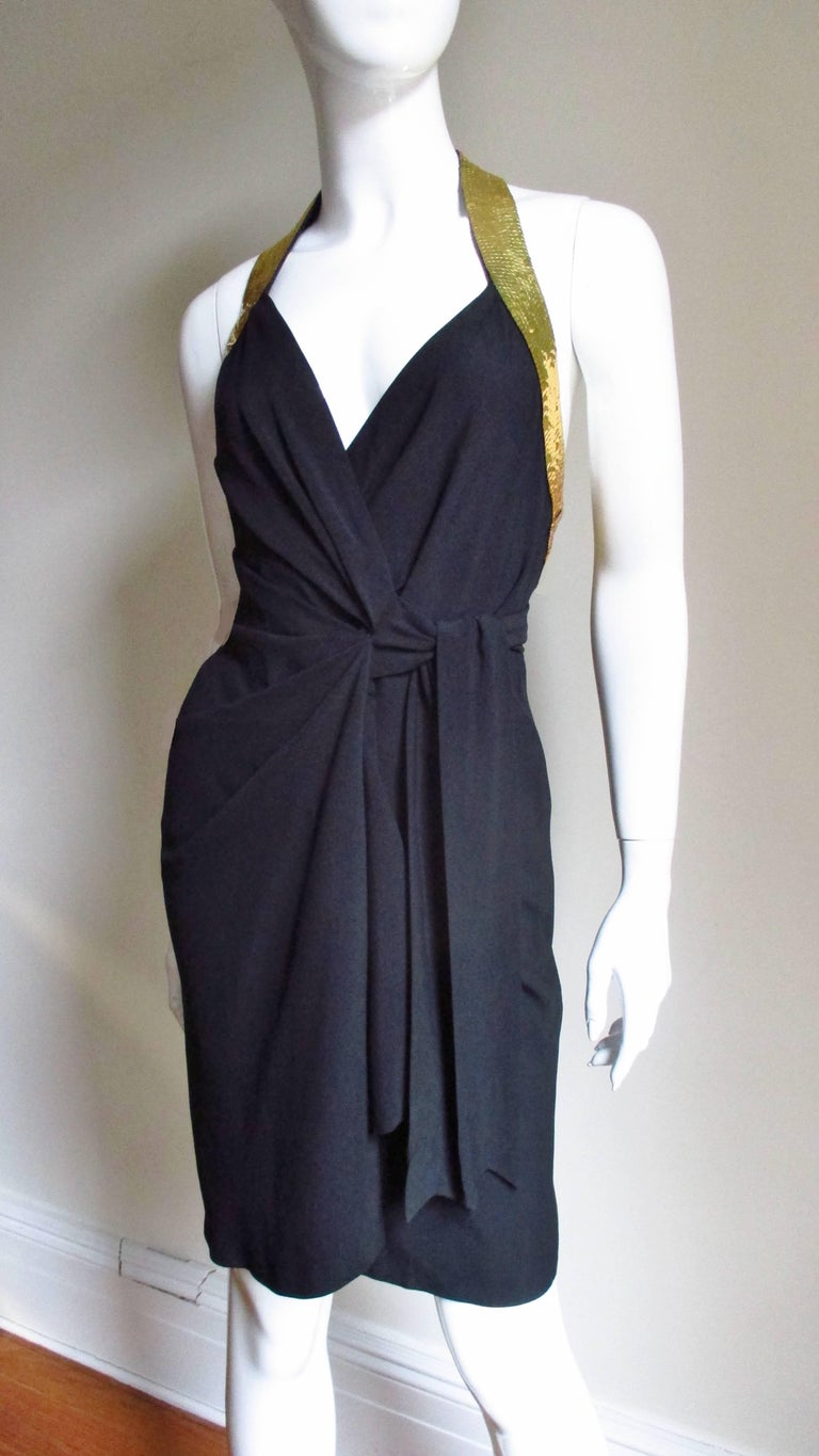 1990s Moschino Couture Gold Sequin Peace Sign Dress For Sale 4