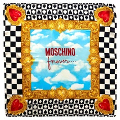 1990s  Moschino Forever Chequered Heart Print Gold Silk Scarf
