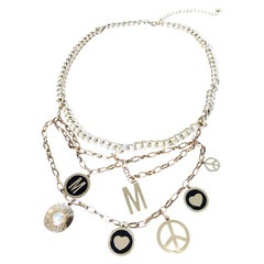 1990s MOSCHINO Gold Logo Peace Sign + Pearl + Hearts Vintage Charm Belt Necklace