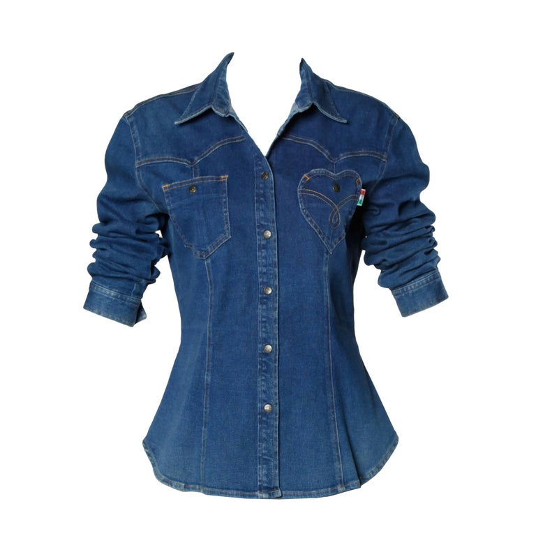 Purple 1990s Moschino Jeans Vintage Denim Heart Pocket Button Up Top, Shirt or Jacket For Sale