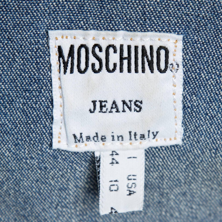 1990s Moschino Jeans Vintage Denim Heart Pocket Button Up Top, Shirt or Jacket In Excellent Condition For Sale In Sparks, NV