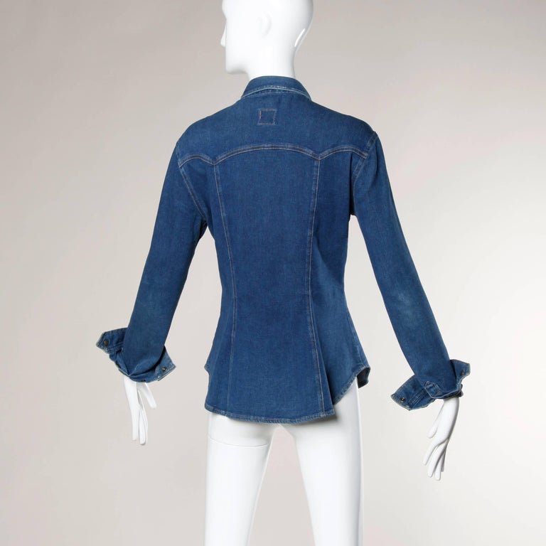 Women's 1990s Moschino Jeans Vintage Denim Heart Pocket Button Up Top, Shirt or Jacket For Sale