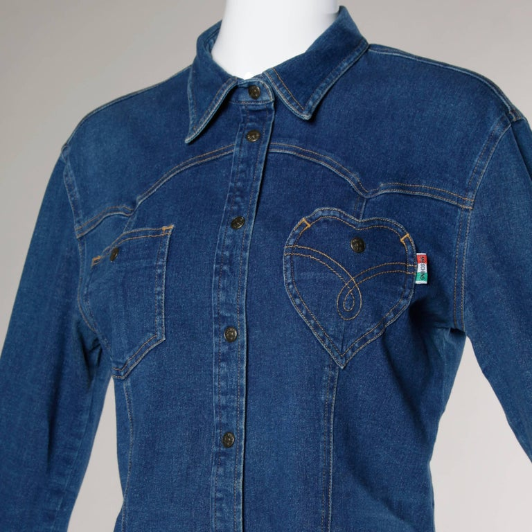 1990s Moschino Jeans Vintage Denim Heart Pocket Button Up Top, Shirt or Jacket For Sale 1