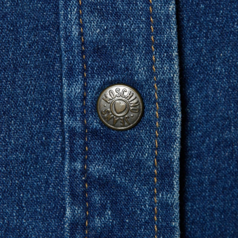 1990s Moschino Jeans Vintage Denim Heart Pocket Button Up Top, Shirt or Jacket For Sale 2