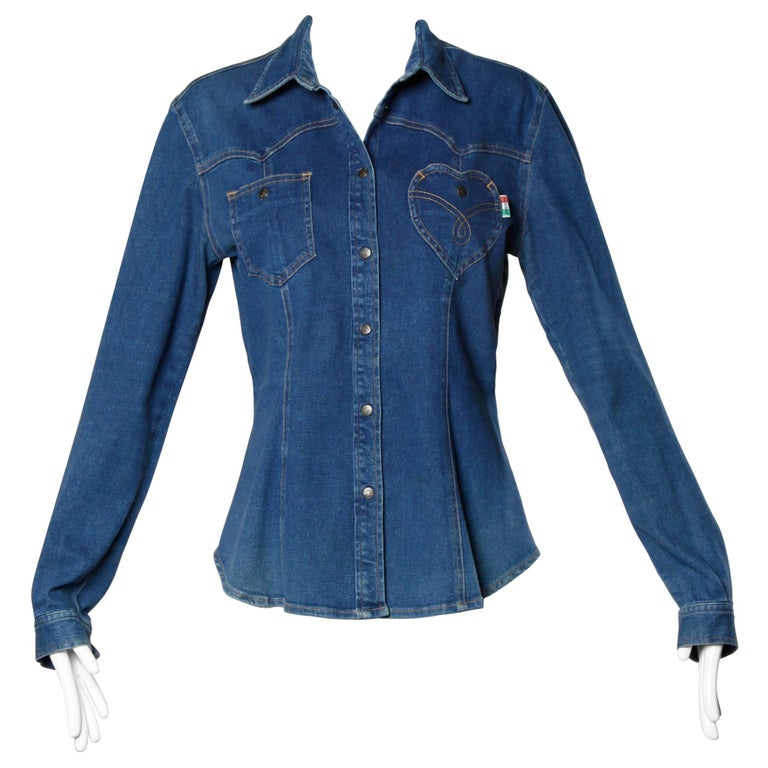 1990s Moschino Jeans Vintage Denim Heart Pocket Button Up Top, Shirt or Jacket For Sale
