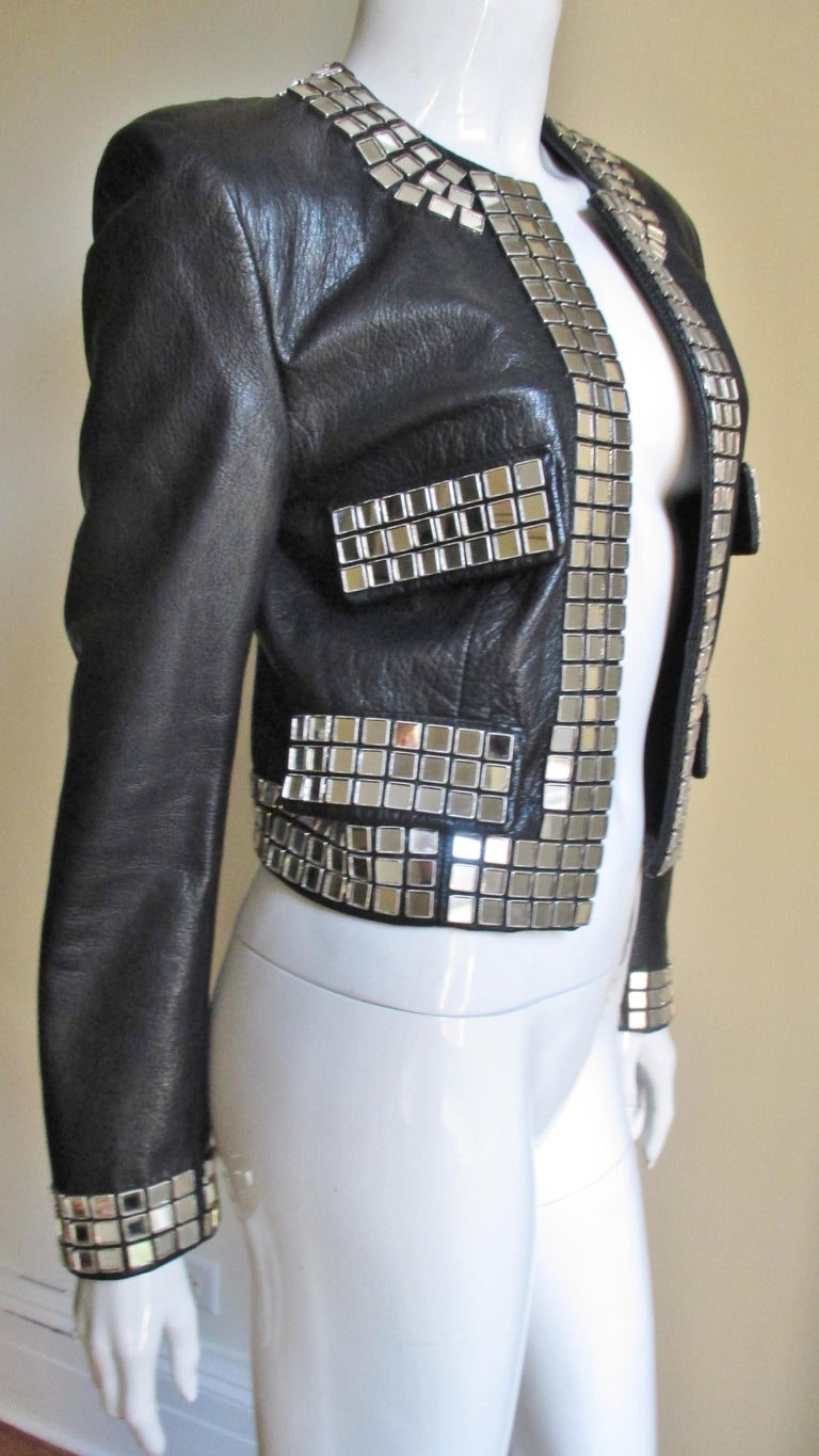 Moschino Leather Jacket with Mirror Trim  For Sale 4