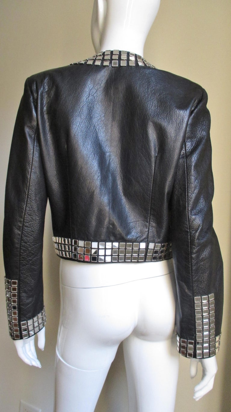Moschino Leather Jacket with Mirror Trim  For Sale 6