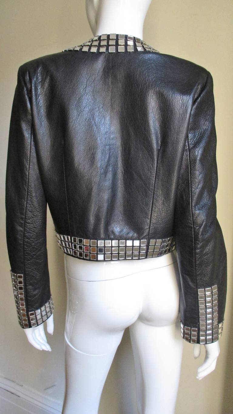 Moschino Leather Jacket with Mirror Trim  For Sale 8