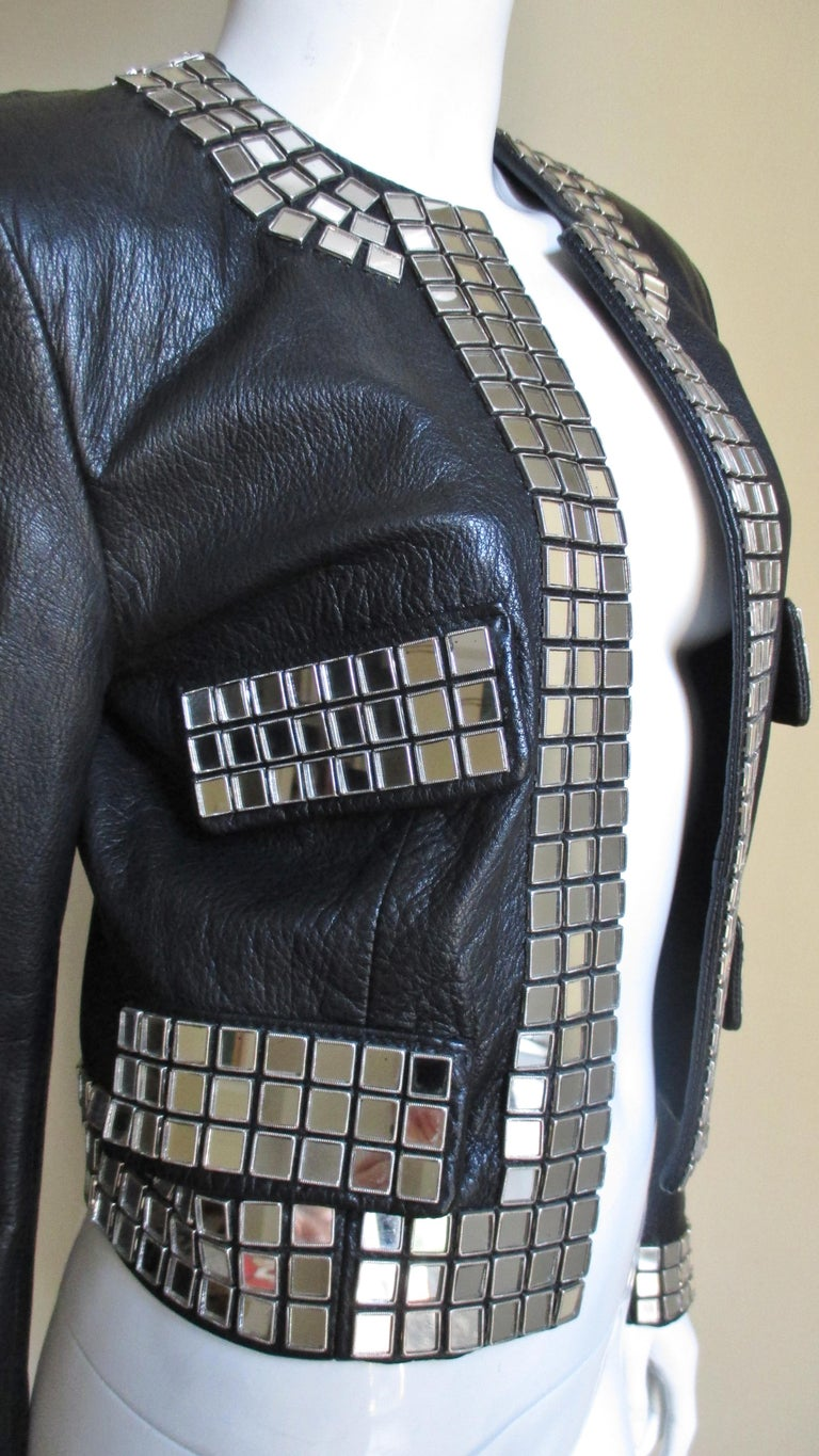 Moschino Leather Jacket with Mirror Trim  For Sale 5