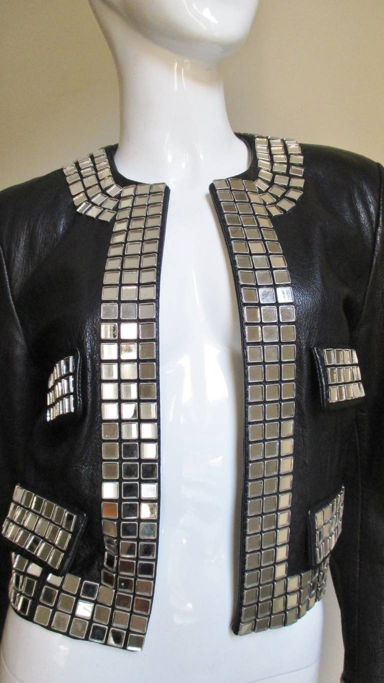 Moschino Leather Jacket with Mirror Trim  In Good Condition For Sale In Water Mill, NY