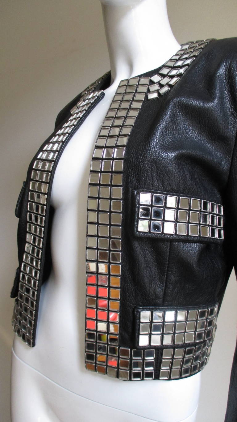 Women's Moschino Leather Jacket with Mirror Trim  For Sale