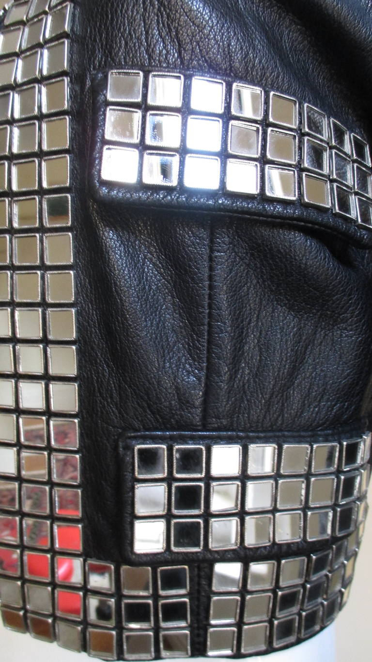 Moschino Leather Jacket with Mirror Trim  For Sale 1