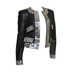 1990s Moschino Leather Jacket with Mirror Trim