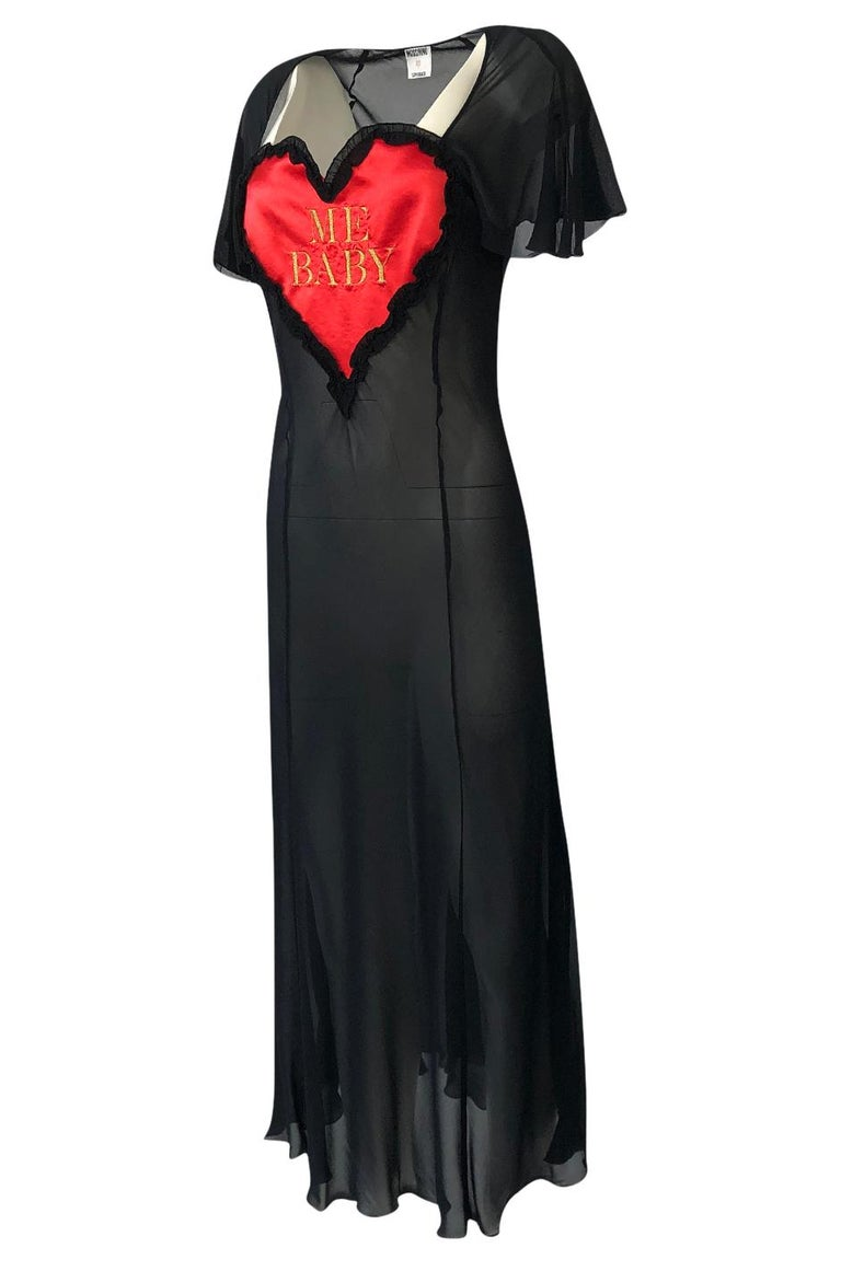 Women's 1990s Moschino Love Me Baby Red Heart on Black Net Lingerie Dress For Sale