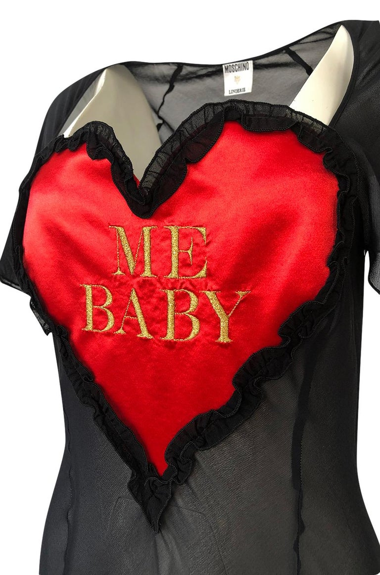 1990s Moschino Love Me Baby Red Heart on Black Net Lingerie Dress For Sale 5