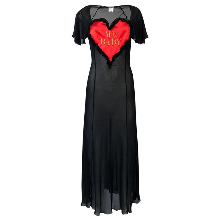 1990s Moschino Love Me Baby Red Heart on Black Net Lingerie Dress For Sale