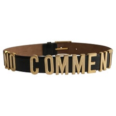 1990s Moschino No Comment Belt Gold Letters on Black Leather Redwall
