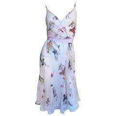 1990s Moschino Pink Sketch Pattern Wrap Dress