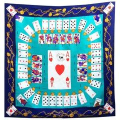 1990s Moschino playcards graphics print silk scarf