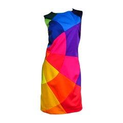 1990s Moschino Rainbow Color Block Dress