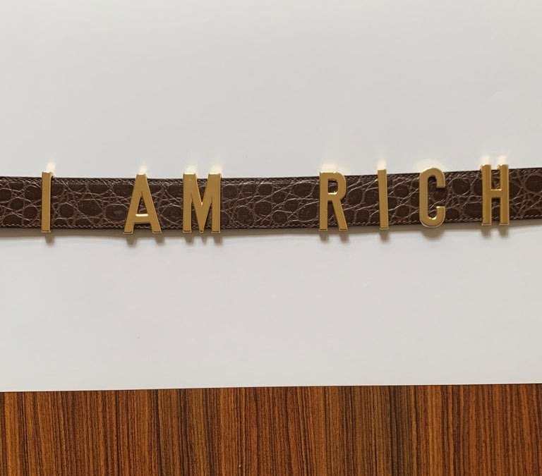 Vintage Moschino I AM RICH belt features