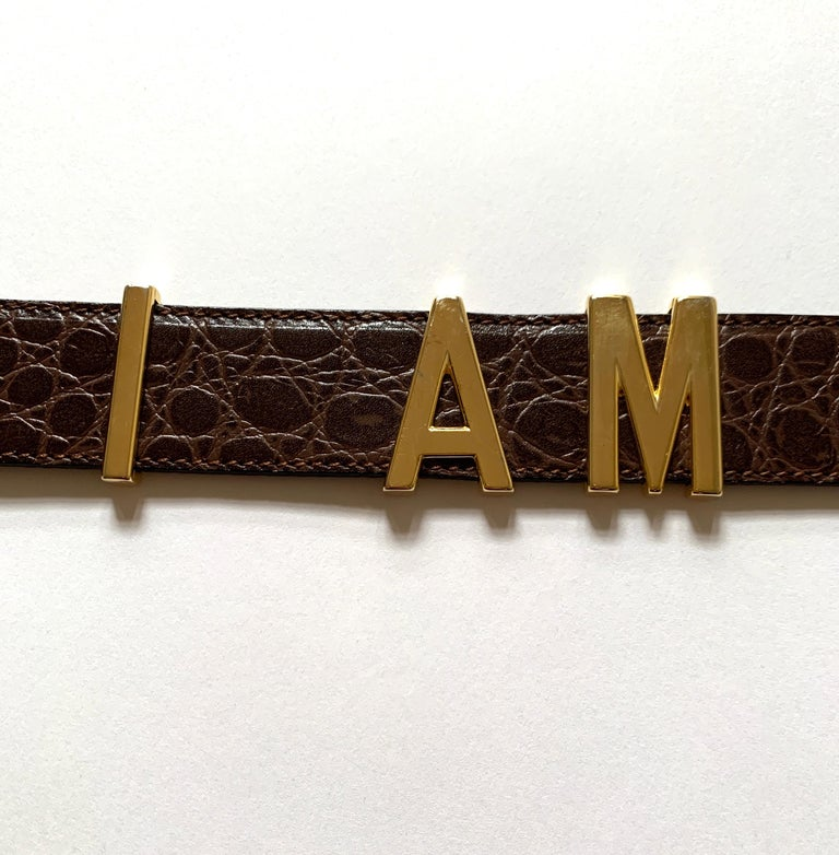 1990s Moschino Redwall Belt I Am Rich in Gold Letters on Brown Embossed Leather For Sale 2